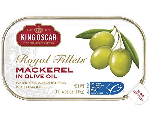 Omega 3 Olive Virgin Oil Extra - King Oscar Skinless & Boneless Mackerel Fillets in Olive Oil, 4.05 Ounce (Pack of 12)