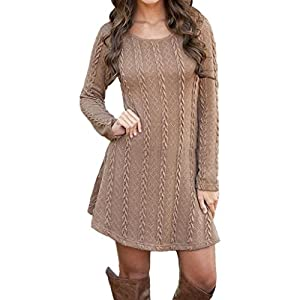 Gillberry Women Ladies Long Sleeve Jumper Slim Casual Knitted Sweater Mini Dress (S, Brown)