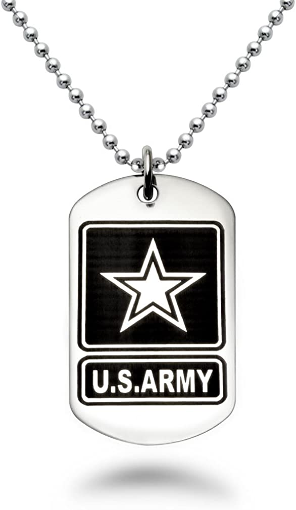 Stainless Steel Dog Tag Necklace with U.S Army Logo with Psalm 23:4 Inscription