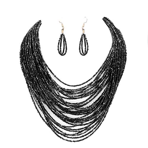 - Uniklook Statement Layered Strands Colored Mini Seed Beads Beaded Chunky Wire Necklace Earrings Set Gift Bijoux (Black)