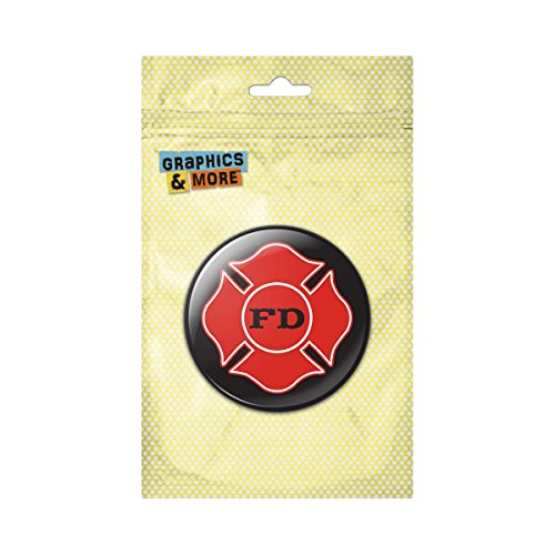 Fire Department Firefighter FD Red Maltese Cross on Black Pinback Button Pin Badge - 1 Inch -