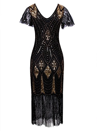 Vijiv Women Vintage Style 1920s Dresses Inspired Beaded Cocktail Flapper Dress With Sleeves For Prom Gatsby Party,Black Gold,XX-Large