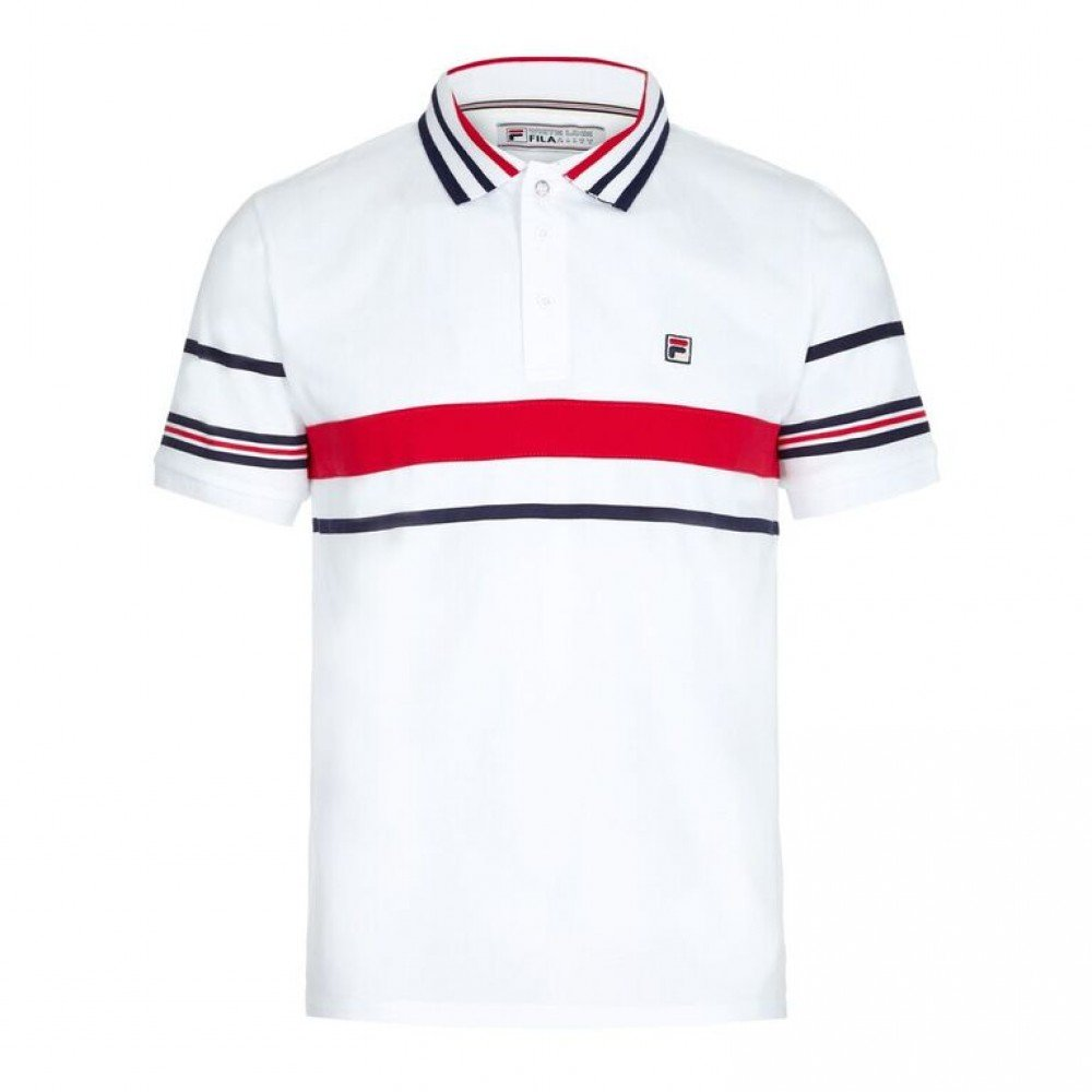 Fila Vintage Bailer Mens White Polo T Shirt UKs Latest ...
