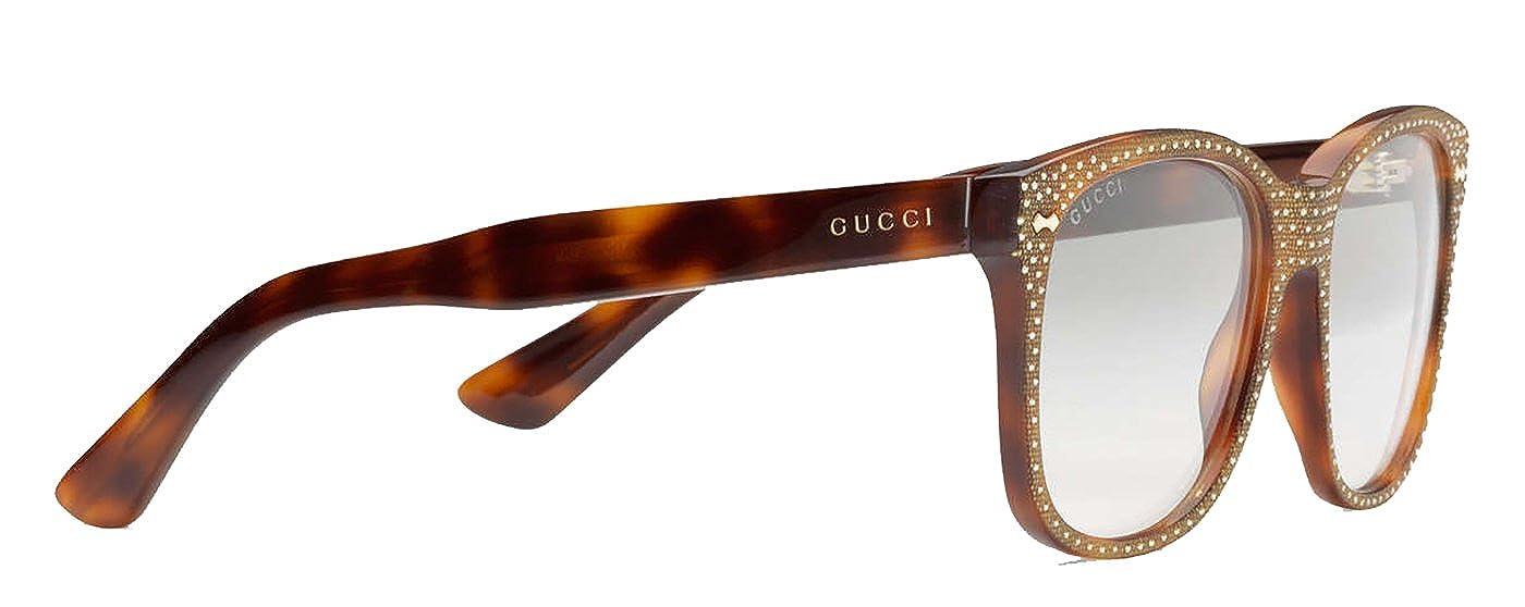 7c441f8d75 Amazon.com  GUCCI RHINESTONE Crystal 3871 Square Havana Gold Frame RX  Glasses GG3871S  Clothing