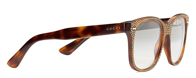 9cec983436ff6 Image Unavailable. Image not available for. Color  GUCCI RHINESTONE Crystal  3871 Square Havana Gold Frame RX Glasses GG3871S