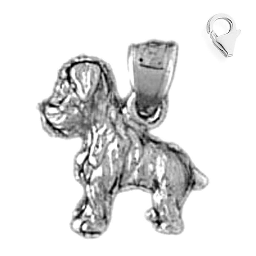Jewels Obsession Dog Pendant Sterling Silver 14mm Dog with 7.5 Charm Bracelet