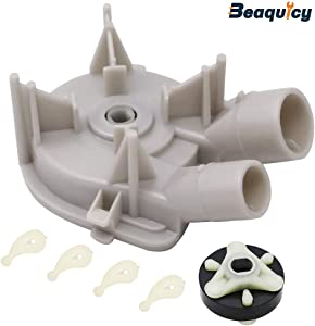 Beaquicy 3363394 Drain Pump with 285753A Motor Coupling with 80040 Agitator Dogs - Replacement part for Kenmore Kitchen Aid Maytag Roper and Whirlpool Washers - (3363394&285753A&80040)