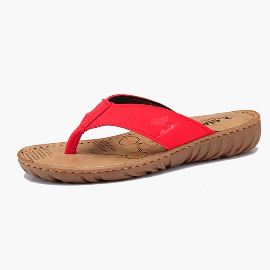 TIANYINI XIE New Lady'S Vintage Slipper Summer Fashion Jog Antideslizante Usable de Cuero Cowboy Slipper Negro Rojo 35-39 (us5-8.5) (uk3-6.5) (Color : Rojo, Tamaño : 36(US 6)(UK 4)) 36(US 6)(UK 4)|Rojo