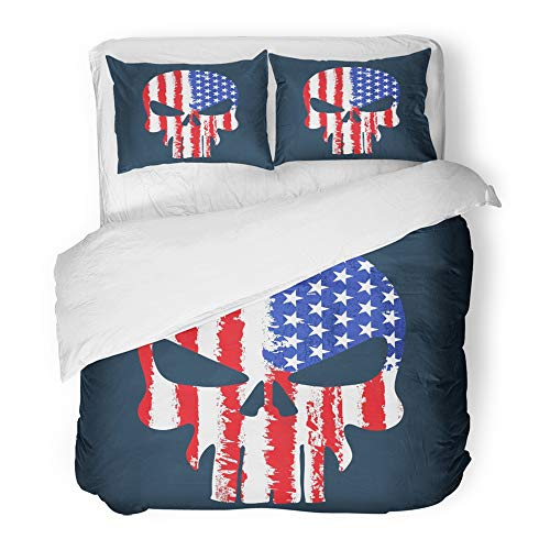 Emvency Decor Duvet Cover Set Twin Size Blue Patriotic Skull with American Flag Graphics Design Red Army Abstract Alien 3 Piece Brushed Microfiber Fabric Print Bedding Set Cover