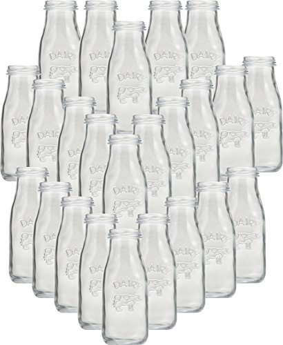 Circleware 06741 Huge Set of 24 Dairy Cow Glass Milk Water Bottles Carafe Kitchen Entertainment Drinking Glassware for Juice, Beer and Bar Liquor Dining Decor Beverage Gifts, 10 oz, Clear ()