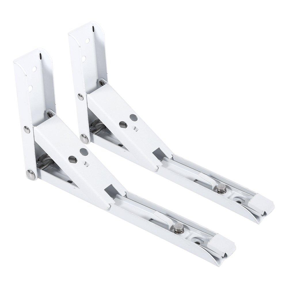 2 soportes triangulares plegables para estante con 8 tornillos para montar en la pared