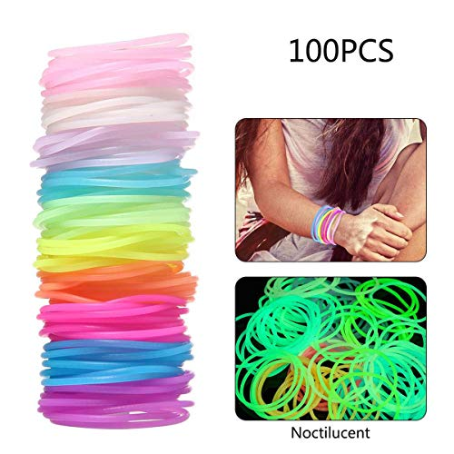 Blue Jelly Bracelet - KOBWA Jelly Bracelets, Multicolor Silicone Jelly Bracelets Luminous Hair Ties, Stretchable Bracelets Bands for Theme Events, Colorful Assortment, Assorted Toy Party Favor, 100 Pieces
