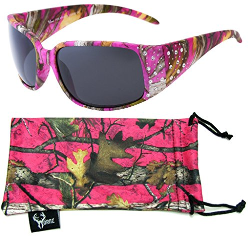 Hornz Hot Pink-Purple Camouflage Polarized Sunglasses Country Girl Style Rhinestone Accents & Free Matching Microfiber Pouch - Hot Pink-Purple Camo Frame - Smoke Lens ()