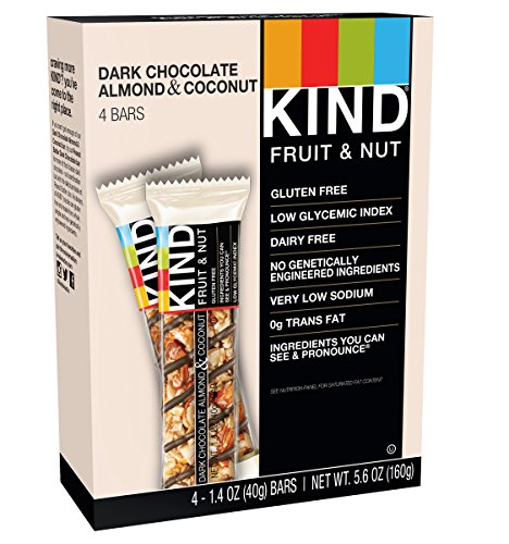 KIND Bars, Dark Chocolate Almond & Coconut, Gluten Free, 1.4oz, 4 Count (Kosher Cereal)