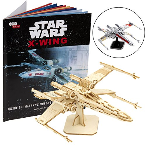 Star Wars X-Wing Book and 3D Wood Model Figure Kit - Build, Paint and Collect Your Own Wooden Movie Toy Model - Great for Kids and Adults, 12+ - 5""