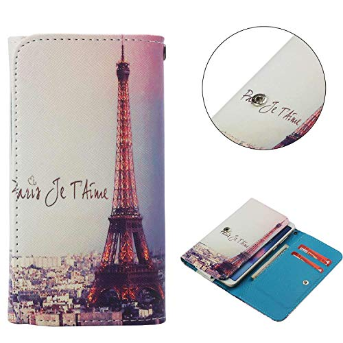 """Universal Cell Phone Flip Case for HTC Aria Liberty A6366 3.2"""" and More, JULAM PU Leather Skin Protective Folio Case Cover Wallet Clutch Bag with Card Slots (Eiffel Tower)"""