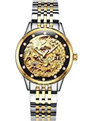 Gosasa Womens Phoenix Collection Luxury Carved Dial Automatic Mechanical Waterproof Gold-Plated Watch