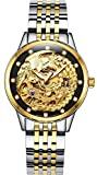 Gosasa Women's 'Phoenix Collection' Luxury Carved Dial Automatic Mechanical Waterproof Gold-Plated Watch