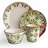American Atelier Bargello 16 Piece Holiday Round Dinnerware Set