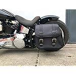 Orletanos-Zeus-Black-Side-Pocket-Saddle-Bag-Side-Case-Compatible-with-Harley-Davidson-Wildstar-Dragstar-VN800-Harley-Davidson-Fatboy-Heritage-Starrrahmen-Bobber-Shovelhead-Panhead
