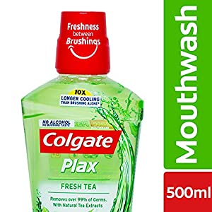 Colgate Plax Antibacterial Mouthwash, 24/7 Fresh Breath with Natural tea extracts – 500ml, (Fresh Tea)