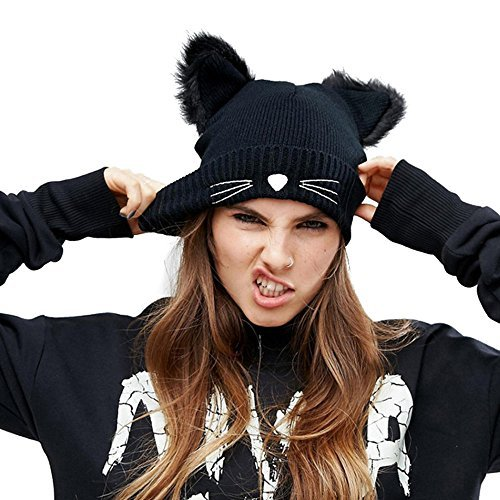 EVRFELAN Black Cat Ears Hats Embroidered Warm Knit Crochet Beanies Wool Cute Fashion Skull Cap for Women Girls in Fall Winter