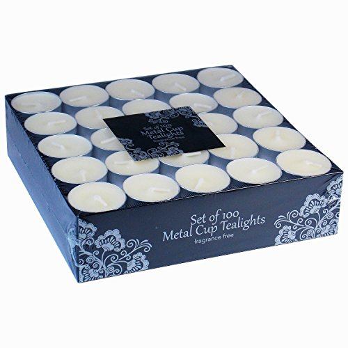 100 Tea Lights Set - Off White Candles - Unscented Tealights (100 Pieces)