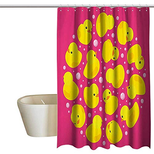 (Suchashome Rubber Duck Punch-Free Shower Curtain Fun Baby Duckies Circle Artsy Pattern Kids Bath Toys Bubbles Hot Pink Animal Print No Chemical Odor, Rust Proof Grommets 72
