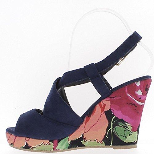 Sandales compensées bleues talon fleuri de 10,5cm et plateforme