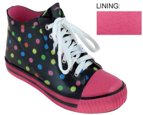 Capelli New York Multi Dots Ladies Short Sneaker Rain Boot Boot Black Combo 10