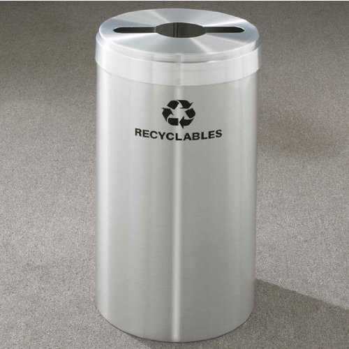Glaro RecyclePro Value Series Receptacle, 15 Gallon, 12 inch W, 2.5 in x9.5 in slot w/ 5.5' dia. center hole, Recyclables message w/ Recycling Logo, Satin Aluminum Finish, Satin Aluminum Top