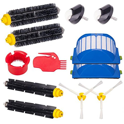 Accessory for IRobot Roomba 770, 780, 790, 650 Vacuum including 2pcs Front caster wheels,2pc Flexible Beater Brushes,2pc Bristle Brushes,2pcs Filters, 2pcs 3-Armed Brushes, Cleaing tool(A&B)