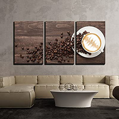 3 Piece Canvas Wall Art - Coffee Cup and Coffee Beans on Wooden Background. Top View. - Modern Home Art Stretched and Framed Ready to Hang - 16