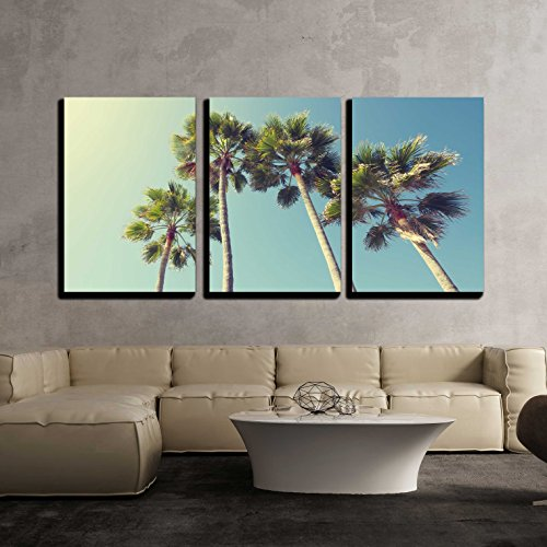 wall26 - 3 Piece Canvas Wall Art - California Palm Trees in Vintage Style. - Modern Home Decor Stretched and Framed Ready to Hang - 24