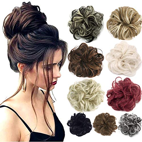- 2pcs Hair Bun Extensions Wavy Curly Messy Donut Chignons Hair Piece Wig Hairpiece