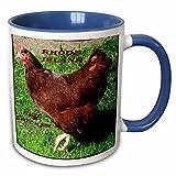 3dRose Florene State Birds - State Bird Of Rhode Island Red Chicken - 11oz Two-Tone Blue Mug (mug_50942_6)