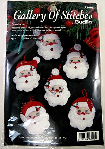 (Bucilla 1996 Jolly Santa Faces Jeweled Felt Applique Christmas Ornaments Kit )