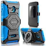 Evocel® Microsoft Lumia 435 Case - Dual Layer [New Generation] Rugged Holster Case with Kickstand and Belt Swivel Clip Nokia Lumia 435 - Retail Packaging, Blue