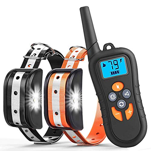 Light One Bark (Zukaly Dog Training Collar,1800FT Remote Shock Collar for 2 Dogs 100% Waterproof and Rechargeable Dog Training Collar, LED Light, Beep, Charger, Vibration Dog training Collar for Large and Medium Dogs)