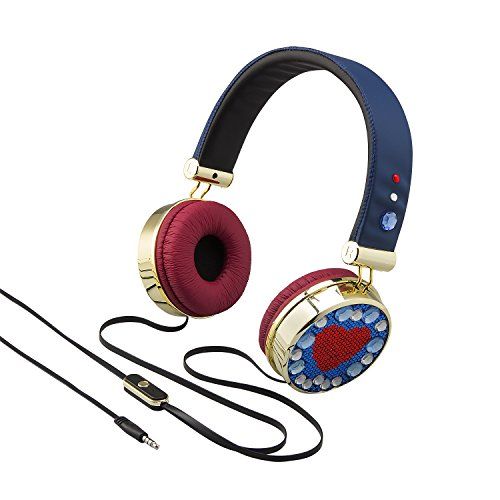Disney Descendants 2 Headphones Fashionable Rhinestone & Gold Accented Style (Headphones Rhinestone)