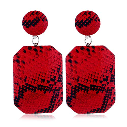 EAPTS Geometric Snake Skin Print Leather Drop Earrings for Women Statement Jewelry