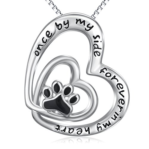 Infinity Love Heart Jewelry Gift 925 Sterling Silver Pet Paw Necklace Engraved