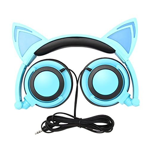Cat Ear Headphones, KOMRT Blinking Kids Headphones Fashion Glowing Cosplay Headset, Foldable Over-Ear Gaming Headsets with LED Light for Girls, Children, Compatible for iPhone 6S, Android Phone?PC
