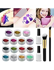 Glitter Tattoo Kit Xpassion Temporary Tattoos Face Painting Make Up Body Glitters with 24 Colour Glitter,118 Sheet Themed Tattoo Stencil, 3 Glue, 2 Brushes, Perfect Party Set/Gift for Xmas, New Year