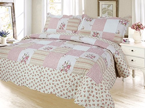 Plaid Printed Bedspread Quilt Set, Twin, Corallina Peach