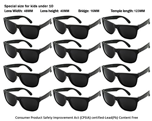 Edge I-Wear 12 Pack Neon Party Sunglasses with UV 400 Lens (Made in Taiwan) (kids-Black, - Kids Sunglasses In Bulk