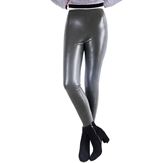 ea606ea9358988 OYEAHGIRL Women Stretchy PU Faux Leather Pants Leggings Sexy Middle Waisted  All-Match with Velvet