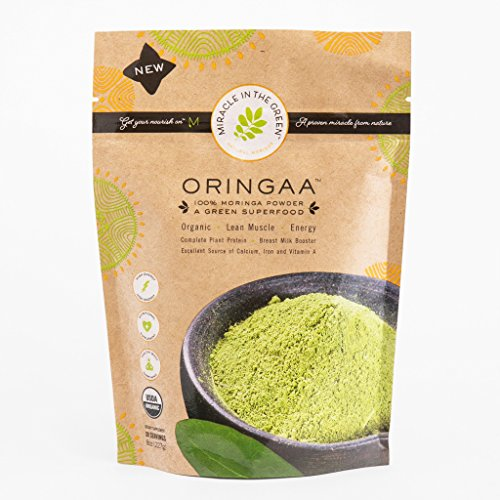 Moringa Powder - Anti-Aging - Gluten-Free - | by Miracle in The Green. USDA Certified Organic. Raw Superfood and Multi-Vitamin. for Green Juice, Smoothies and Food. Gives Energy. 8 oz (Best Loose Powder In India)