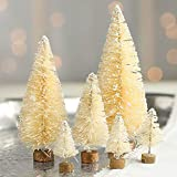 Factory Direct Craft Package of 18 Frosted Cream Bottle Brush Miniature Sisal Trees