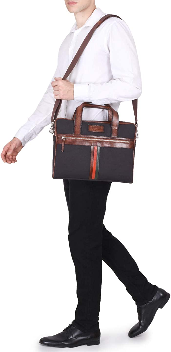 Phive Rivers Mens Leather and Canvas Charcoal and Tan Laptop Bag